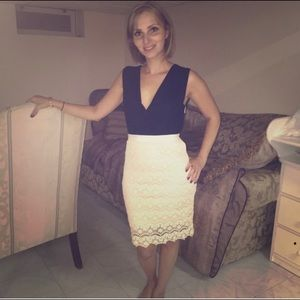 Black and Cream Lace Cocktail Dress Size Small